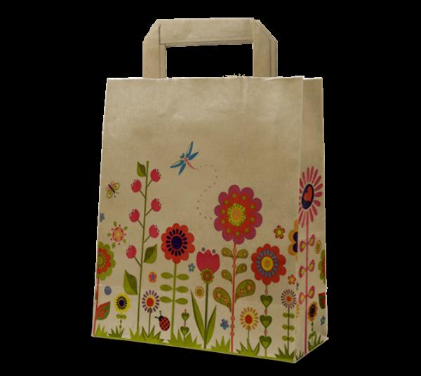 """Papier-Tasche """"Blumenwiese"""" natur"""