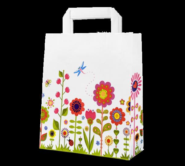 """Papier-Tasche """"Blumenwiese"""" weiß"""