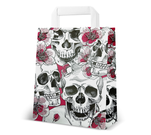 "Papier-Tasche ""Skulls & Flowers"""