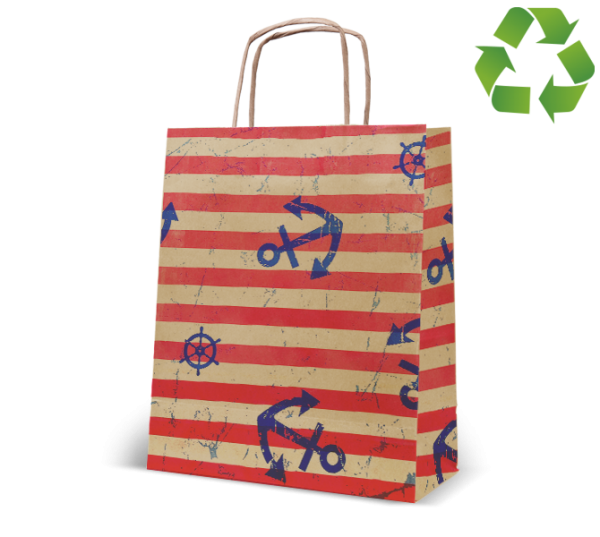 "Papierkordel-Tasche ""Küste"" aus Recyclingpapier"